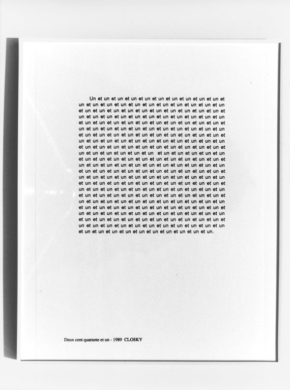Claude Closky, 'Deux cent quarante et un [Two hundred and forty-one]', 1989, laser print on paper, 29,7 x 21 cm.